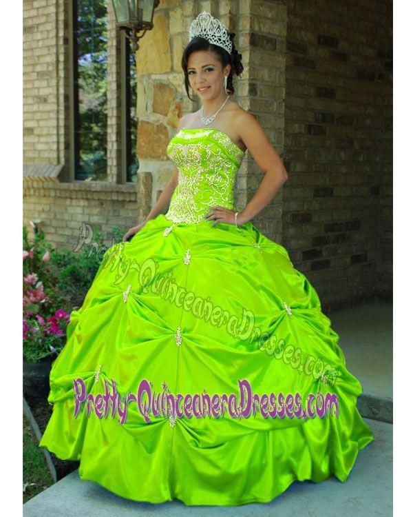 Elegant Appliqued Yellow Green Quinceanera Dresses in Walloon Brabant Belgium