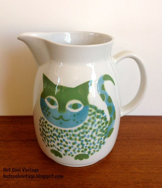 Arabia Finland Kaj Franck Large Cat Pitcher by HotCoolVintage