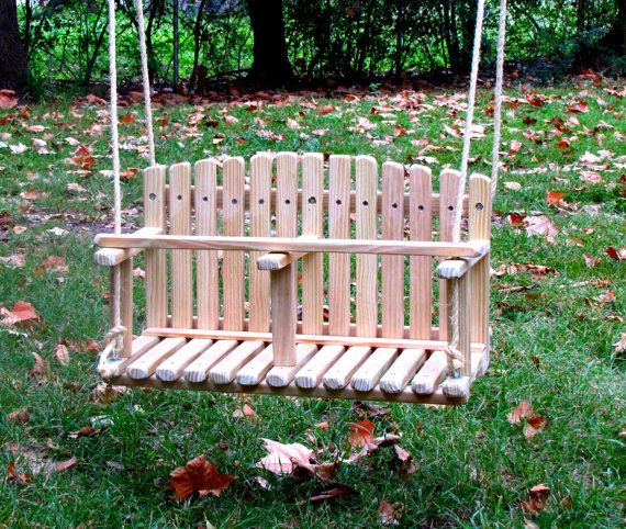 Kids Wooden Swing, Double Swing, Large, Backyard Outdoor Toys, Toddler and Baby Swing, Tree Swing, Old Fashioned Handmade Children Toys