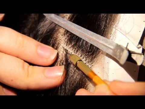 How to : Make and ventilate realistic looking transparent parting lace closure - YouTube