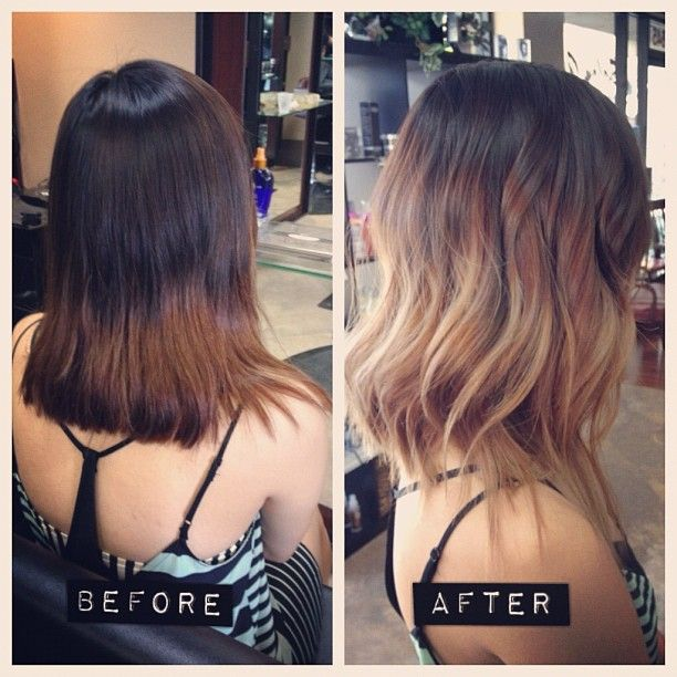 ombre look. for medium hair: equal parts dark and light with melt in middle. I usually hate this look cause it just looks like too much new growth. I like the gradual change though...