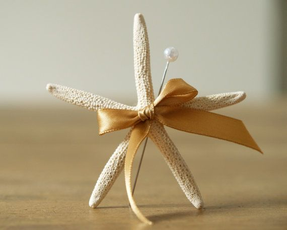 Beach Wedding Lapel Pin, Starfish Boutonniere, White and Gold Sea Themed Wedding, Nautical, sand, Destination Wedding on Etsy
