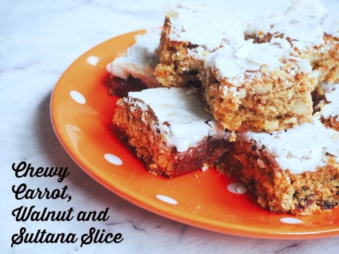 Carrot and Walnut Slice text