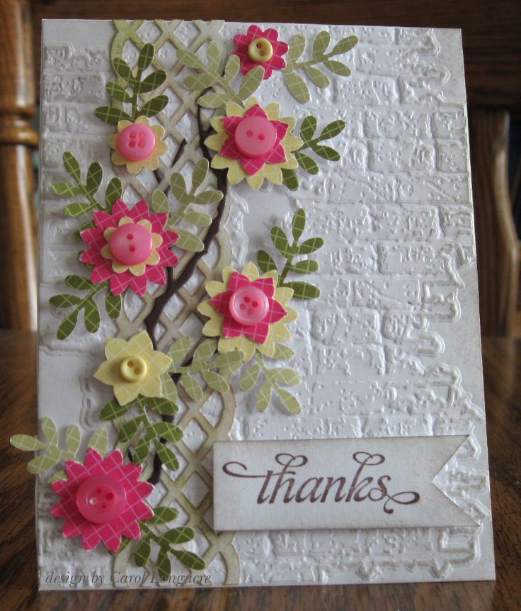 Our Little Inspirations: Lattice die or punch topped with flowers with button centres. Lovely on the brick background.