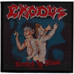 Exodus sew on woven patch featuring the original artwork to their debut album Bonded By Blood.