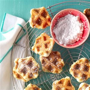 Dutch Waffle Cookies Recipe -My mom taught me how to make these waffle iron cookies. Now I have my friends bring their waffle irons to the house, and we make big batches.—Rachel Setala, Surrey, BC