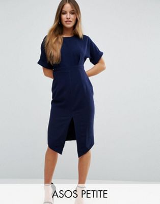 ASOS PETITE Smart Woven Dress with V Back and Split Front