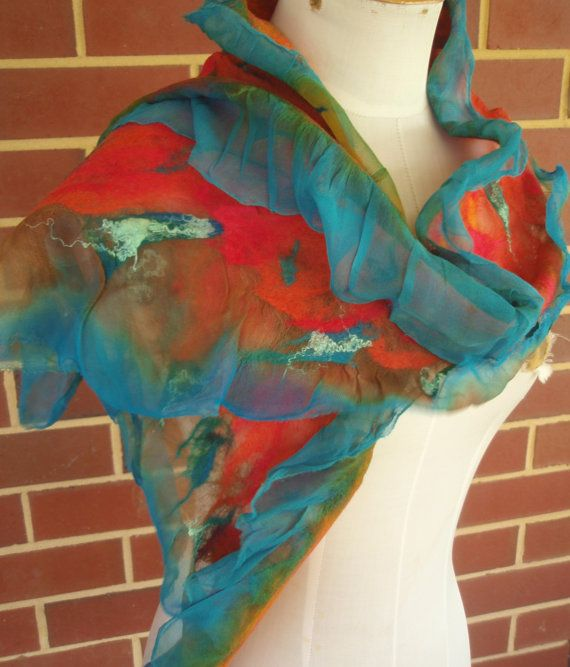 Turquoise Teal Tangerine Nuno Felt Silk Wool Scarf by by plumfish