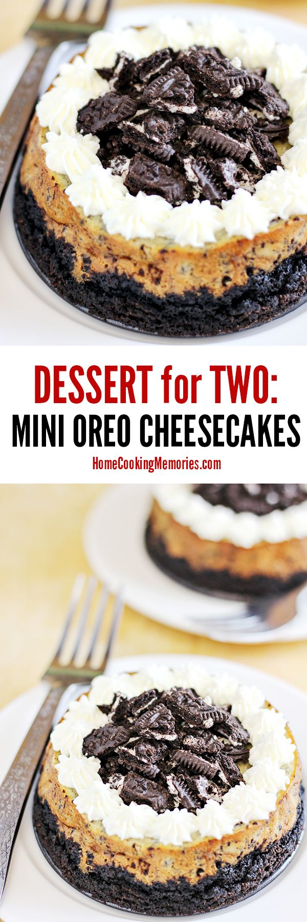 """This dessert for two is a must for Oreo fans! This Mini Oreo Cheesecake recipe makes two small 4"""" cheesecakes made with plenty of crushed Oreo cookies baked into the cheesecake and in the Oreo crust."""