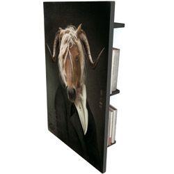 les dandys boekenplank - Op het eerste gezicht een schilderij, maar achter het schilderij zitten kleine planken voor het opbergen van je cd's, je dvd's, je boeken, enz...