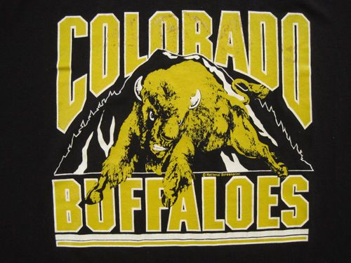 COOL-80s-vintage-COLORADO-BUFFALOES-university-T-SHIRT-LARGE