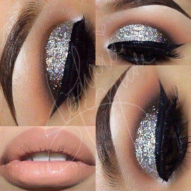 Con glitter plateado