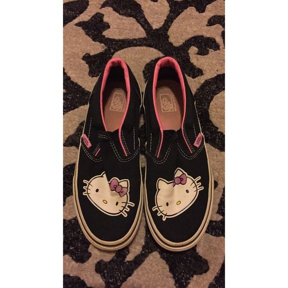 Hello Kitty Vans Size 4, black hello kitty vans. So cute and in great condition! Let me know if you have any questions ! Vans Shoes