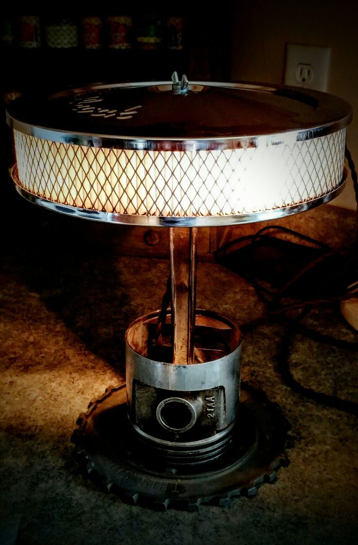 Chrome air filter, piston lamp