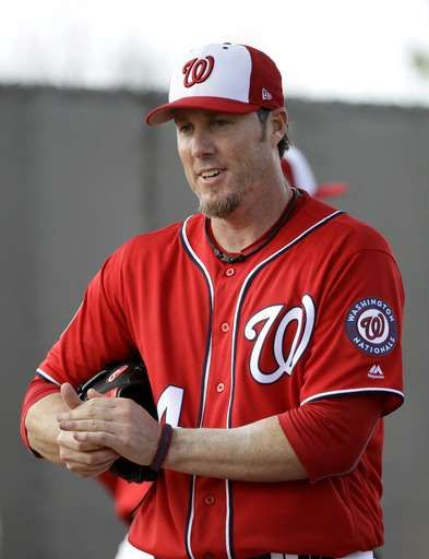 Nationals release Nathan, 8th all-time in saves  -  March 27, 2017:        Washington Nationals pitcher Joe Nathan throws during a spring training baseball workout Thursday, Feb. 16, 2017, in West Palm Beach, Fla. (AP Photo/David J. Phillip)
