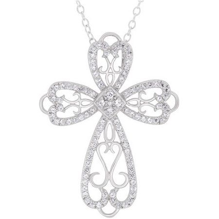 Cubic Zirconia Sterling Silver Filigree Cross Pendant, 18 inch, Size: Large