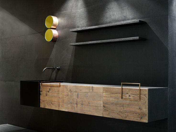 Meuble sous vasque simple mural en bois avec portes door for Moab salle de bain