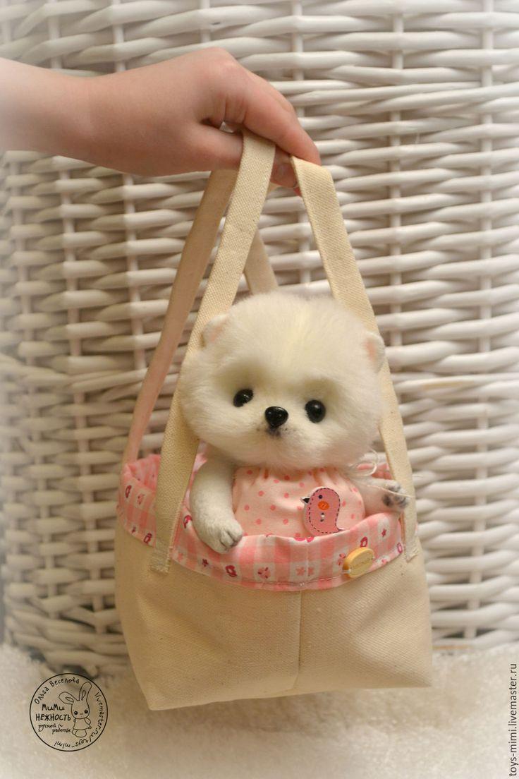 Купить Собачка шпиц Леа игрушка - белый, шпиц, щенок, игрушка, собака, собачка