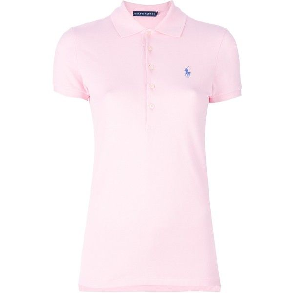 RALPH LAUREN BLUE 'Julie' polo shirt (97 CAD) ❤ liked on Polyvore featuring tops, polo collar shirts, side slit top, collar top, pink top and polo shirts