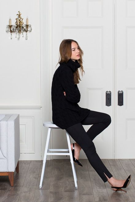 Emerson Fry: oversized turtleneck knit, cropped trousers, walkable heels.