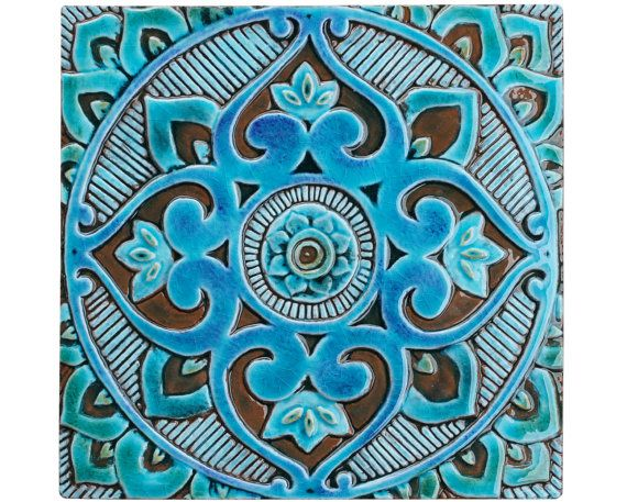 Mandala wall hanging made from ceramic - exterior wall art - mandala art - mandala wall hanging - handmade tile - mandala3 - turquoise