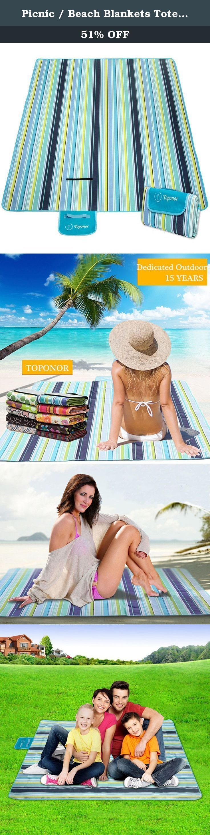 """Picnic / Beach Blankets Tote with Waterproof Backing (80 x 60""""). Enjoy your stress-free outside summer time with TOPONOR Picnic Blankets It should be stress-free and comfortable when having fun outdoor, that's where Picnic Blanket can take the stress out of worrying about what to sit on and bring you more relax and happiness with your families. TOPONOT Picnic Blanket will meet the different needs for picnic, camping, sporting events, soccer sidelines, games, park on a wet-grass or even…"""