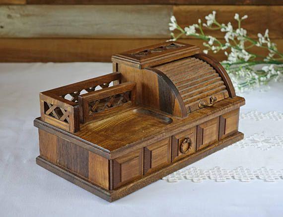 Vintage wooden men's valet tray  Wood top valet  Cell