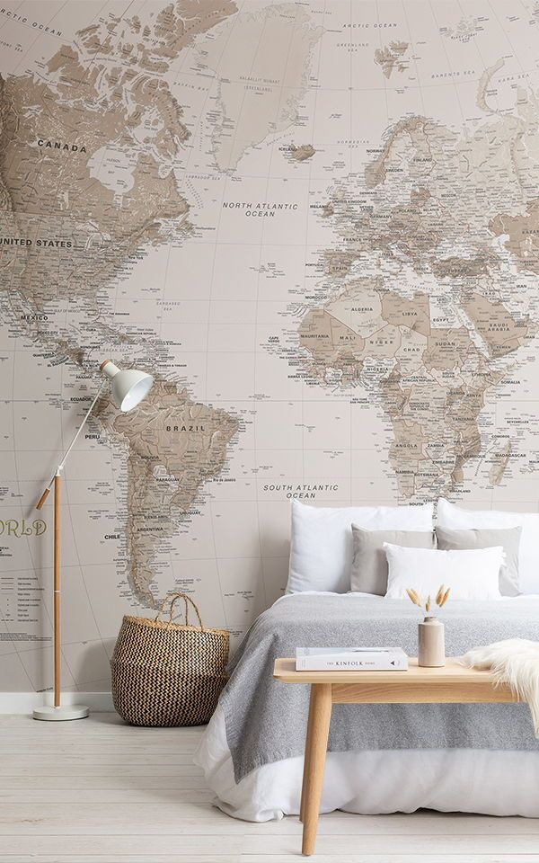 Earth Tone World Map Mural Wallpaper With Images Interior