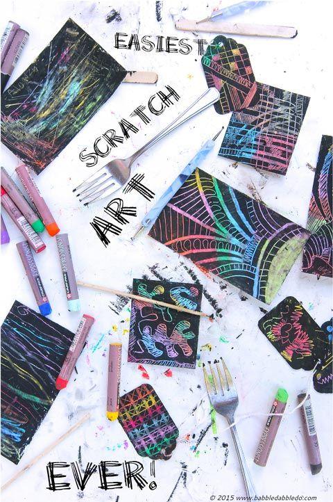 Kratzbilder für Kinder einfach selbst machen. Wachsmalstifte und Farbe benötigt. Da können auch die Kleinen mithelfen!