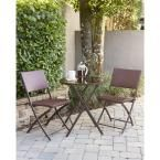 Delray Transitional 3-Piece Steel Dark Brown & Red Woven Wicker Dining Height Folding Patio Bistro Set, Dark Brown And Red Resin Wicker