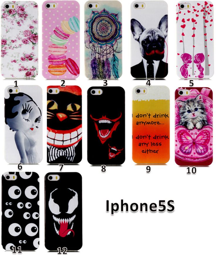 New Soft TPU Case With Cartoon Printed Silicone Plastic Cover Coque Capa Para for iPhone 5S 5 Fundas Carcase