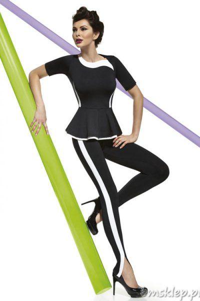 Stylowe legginsy Heidi z boku posiadają białą wstawkę, która optycznie wyszczupla nogi. Seksowne rozcięcie w dole #nogawki. Idealne do butów na wysokim obcasie. Model na komfortowej gumie. Elastyczne i przyjemne w dotyku, świetnie opinają #cialo. Grubość 200 DEN – całkowicie kryjące. Skład: 85% Poliester, 15% Elastan.... #Legginsy - http://bmsklep.pl/bas-bleu-heidi