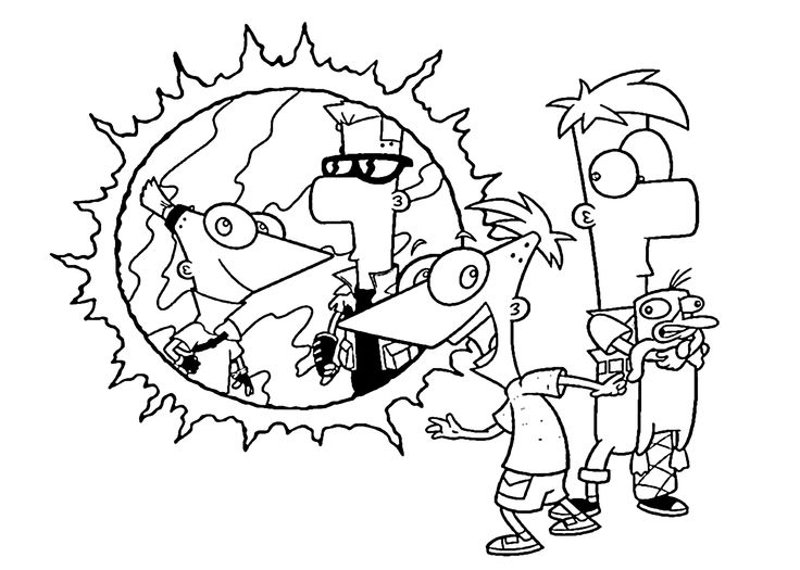 phineas and ferb coloring pages for kids printable free phineas and ferb