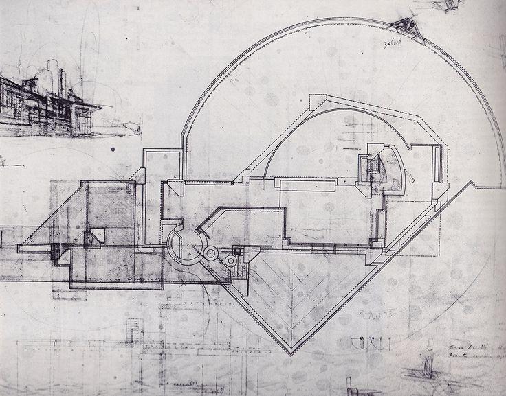 Carlo Scarpa.Casa Veretti a Udine, 1955-61. Pianta e prospetto , matita e pastello rosso su velina, 297x494mm.