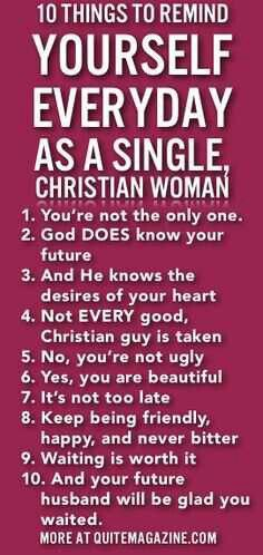 Ten things for Christian single ladies to remember