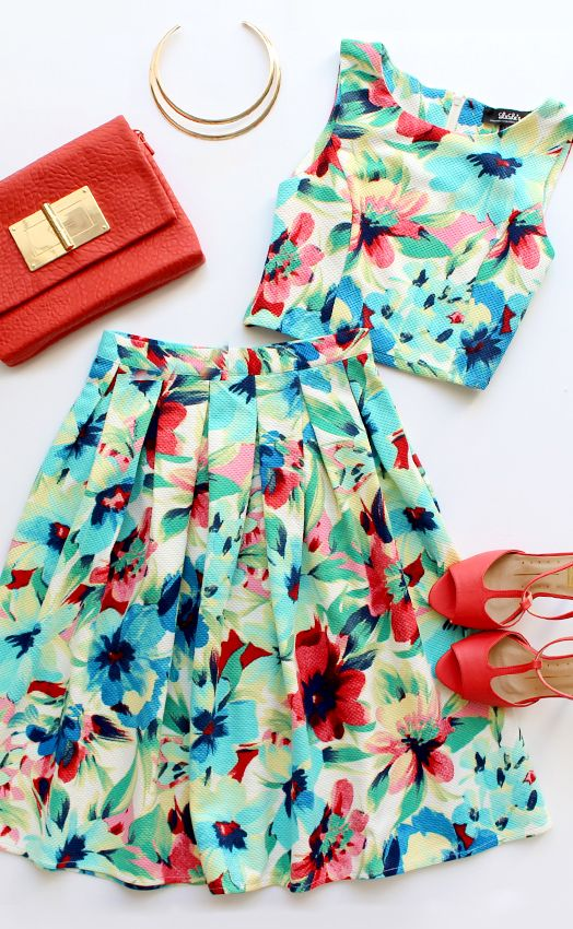 Splendidly Spry Blue Floral Print Two-Piece Midi Dress