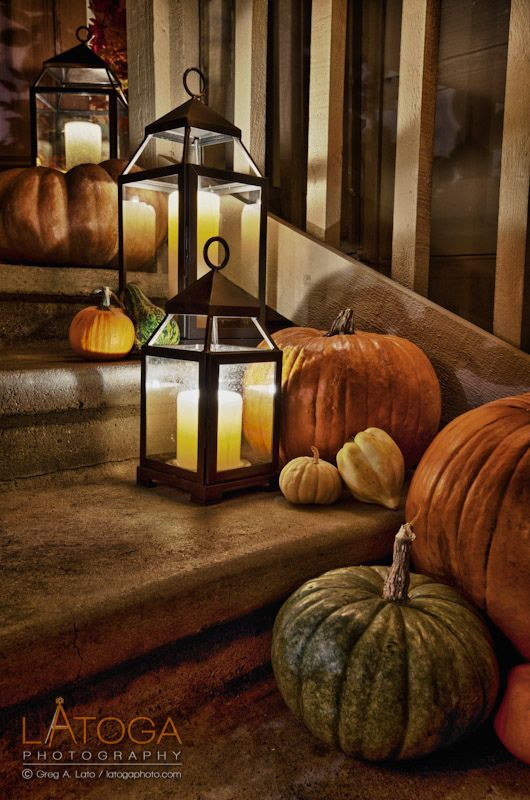 LOVE the lanterns mixed with fall decor...Lord knows I have enough lanterns in my wedding inventory, might as well get all the use out of them I can lol!