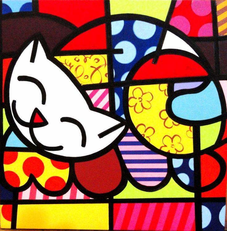 Quadro Pintura Em Tela - Gato Feliz - Romero Britto - R$ 219,00 no MercadoLivre
