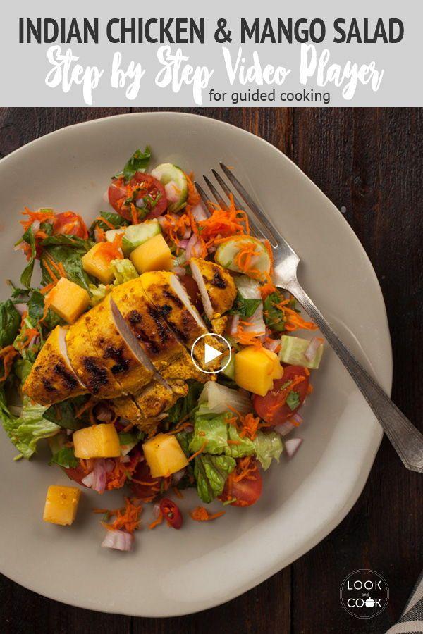 Indian Chicken And Mango Salad Recipe Recipe In 2020 Mango Salad Salad Salad Recipes