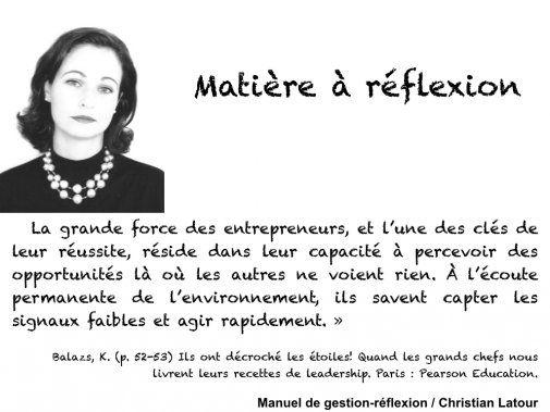 « La grande force des entrepreneurs, et l'une des clés de leur réussite réside dans leur capacité à percevoir des opportunités là où les autres ne voient rien. » — Katharina Balazs - La Revue HRI : HOTELS, RESTAURANTS et INSTITUTIONS