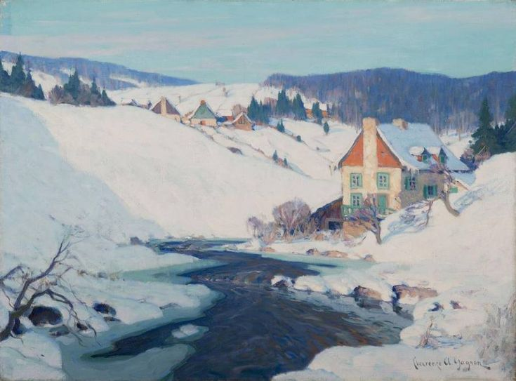 Clarence Gagnon (1881 - 1942) Quebec Village, Winter