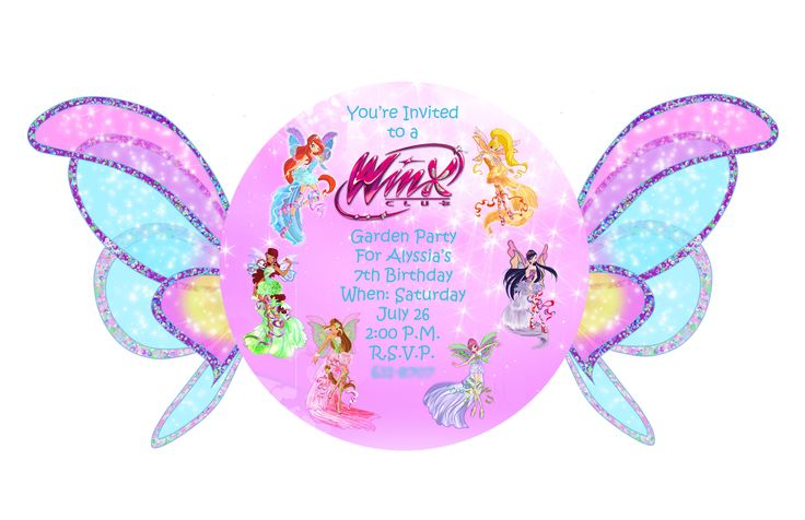 Winx club birthday party invitation.