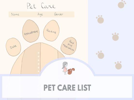 Pet Care List | www.sweetestchelle.com