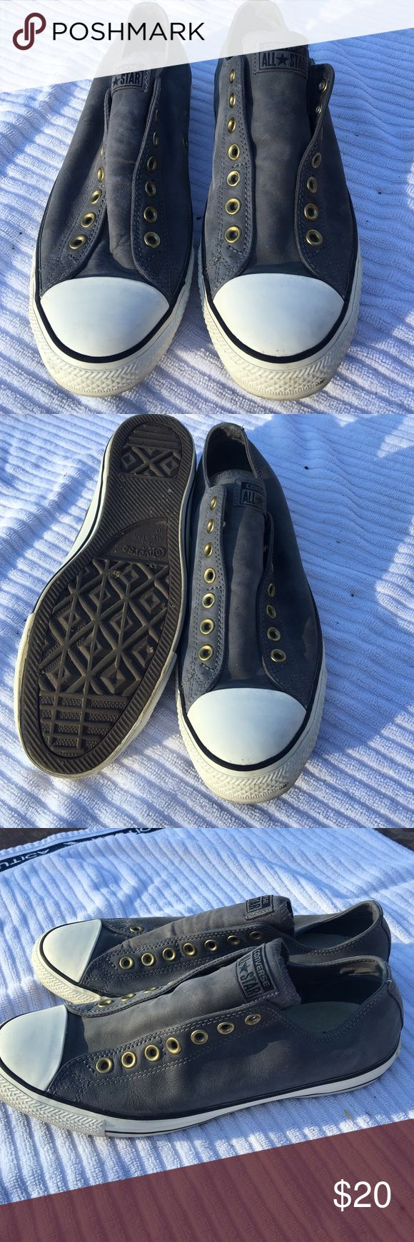 Converse Chuck Taylor leather slip on sneakers My foot has grown, these no longer fit.  Converse Chuck Taylor leather slip on men's sneakers size 10 Converse Shoes Sneakers