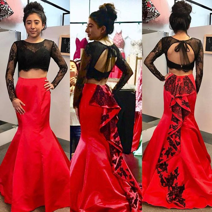 Black Lace Bodice Red Skirt Prom Dresses with