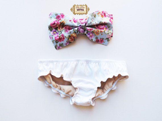 Vintage Bow Bandeau Sunsuit Bikini style. DiVa Vintage Roses Mollyanna. Halter Neck top White Ruffle Panties. Sexy cute ALL cotton