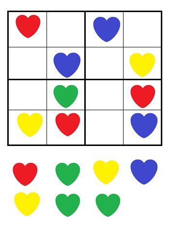 Sudoku moederdag/harten/vormen
