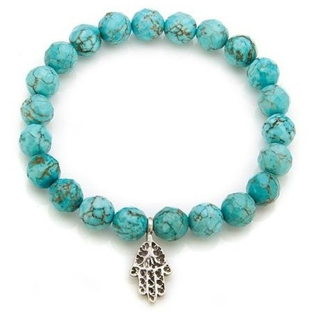 Satya Sterling Silver Health and Healing Turquoise Stretch Bracelet