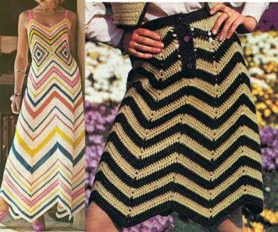 #chevron crochet patterns - mini and maxi skirts