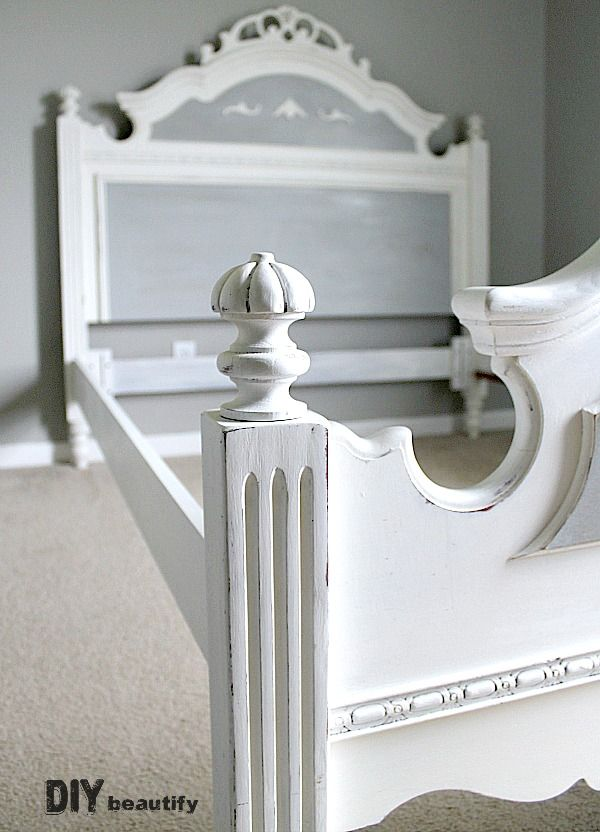 I painted my honey oak bed for Week 2 of the One Room Challenge and it became a French Country beauty! DIY beautify